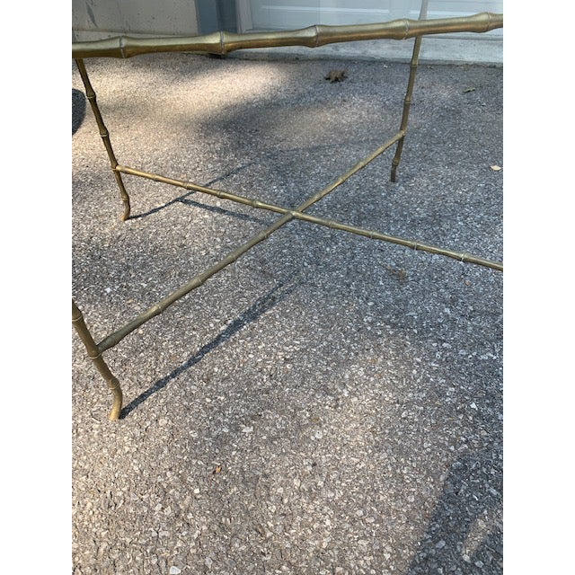 1950s Hollywood Regency Brass Faux-Bamboo Side Table For Sale - Image 5 of 8