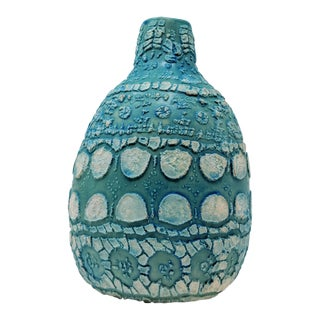 Boho Handcrafted Teal Vase With Textured Finish For Sale