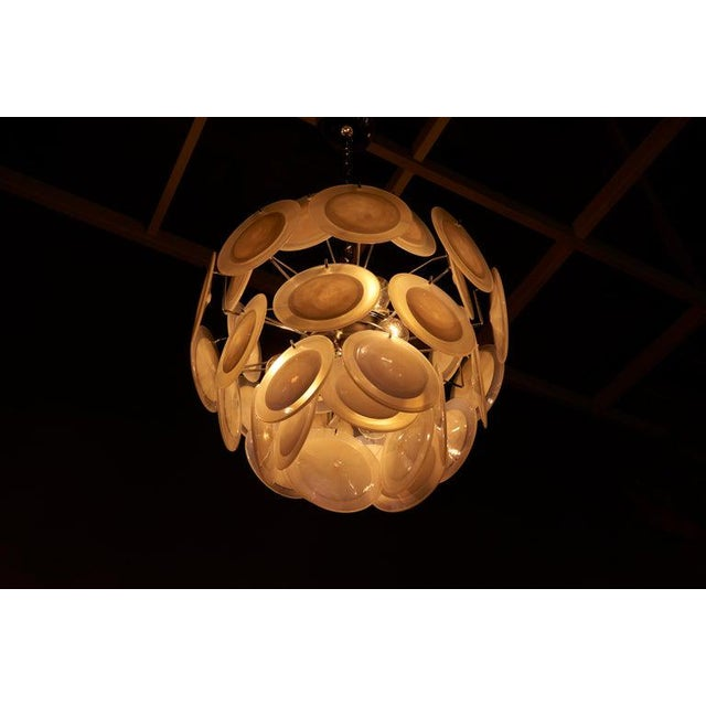 Mid-Century Modern One of Two White Iridescent Murano Glass Disc Chandelier Attributed to Vistosi For Sale - Image 3 of 8