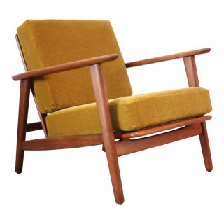 Danish Modern Reclining Lounge Chair in Ochre Mohair For Sale