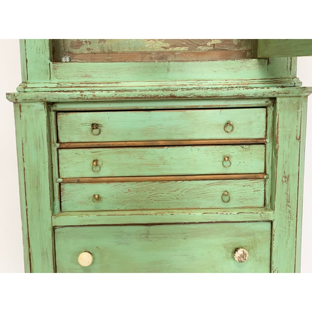 Wood 19th Century Spanish Green Pharmacy Cabinet For Sale - Image 7 of 12