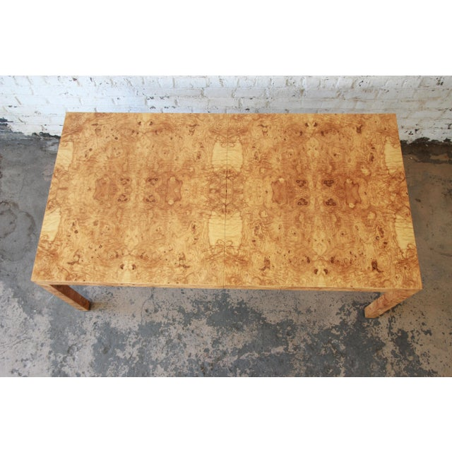 Milo Baughman for Directional Burl Wood Parsons Extension Dining Table For Sale - Image 9 of 11