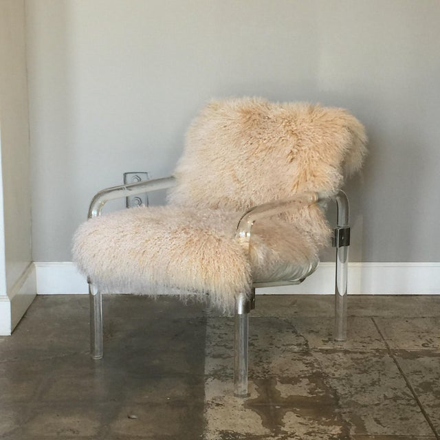 Contemporary Welcoming Mongolian Lamb Lucite Armchair For Sale - Image 3 of 10