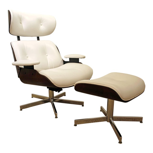 Mid-Century Danish Modern Selig Eames Leather Swivel Lounge Chair/Ottoman-signed For Sale