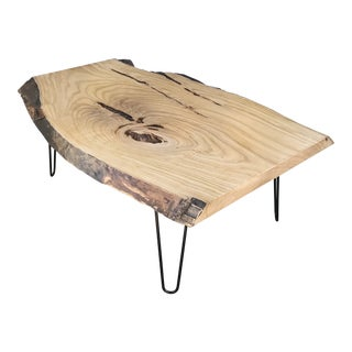 Organic Modern Live Edge Maple Slab Coffee Table With Hairpin Legs For Sale