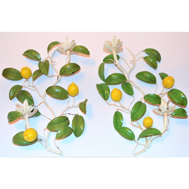 Boho Chic Italian Hand Painted Lemon Tree Tole Wall Sconces - a Pair For Sale - Image 3 of 8
