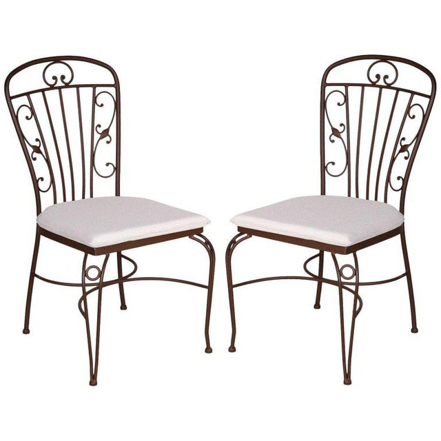 Brown Wrought Iron Garden Chairs - A Pair For Sale - Image 4 of 4