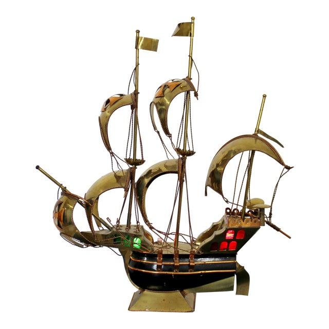 Mid Century Modern Light Up Brass Copper Sailing Sculpture Bijan Jere Era 1970s For Sale