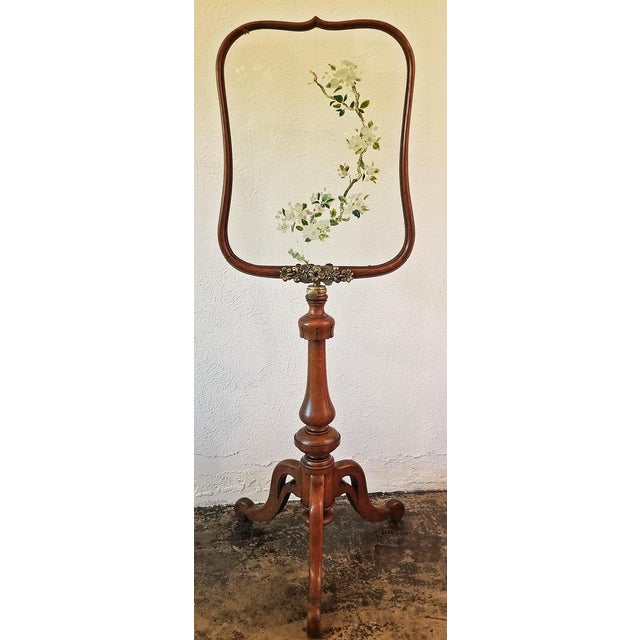 19c Telescopic or Extendable Tripod Based Fire Screen - Walnut With Hand Painted Glass For Sale - Image 13 of 13