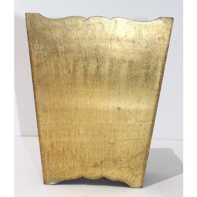 Hollywood Regency Mid-Century Florentine Giltwood Wastebasket Gilt Wood For Sale - Image 3 of 11