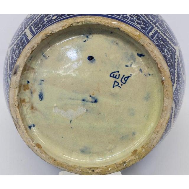 Large Moroccan Hispano-Moorish Blue and White Ceramic Handled Jar For Sale - Image 10 of 13