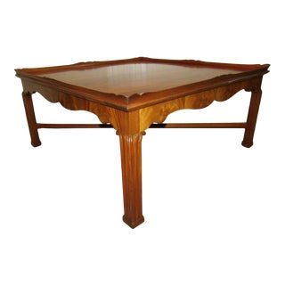 Stickley Flame Chippendale Style Mahogany Coffee Table For Sale