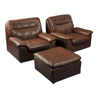 Leather Club Chairs and Ottoman by De Sede of Switzerland - Set of 3