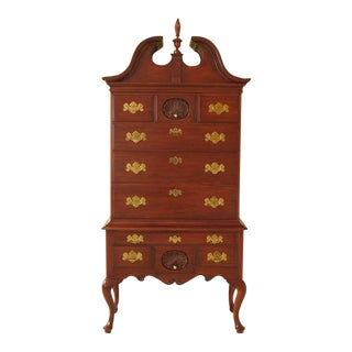 1980s Vintage Henkel Harris Philadelphia Queen Anne Cherry Highboy For Sale