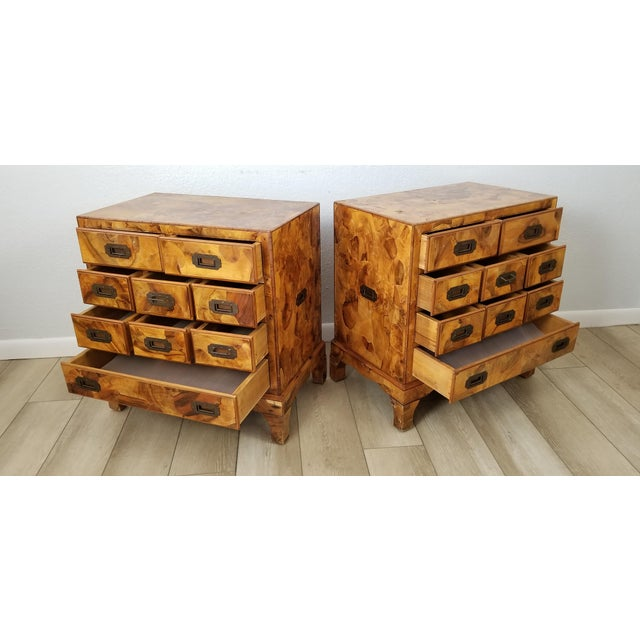 Italian Campaign Style Burlwood Patch Chest / Nightstands - a Pair For Sale - Image 4 of 13