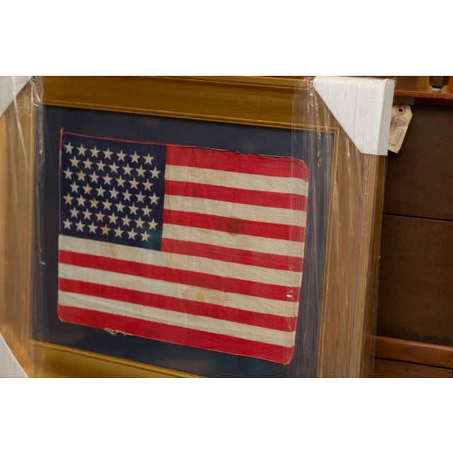 Blue Authentic 49 Star Professionally Framed American Flag Rare Original For Sale - Image 8 of 10