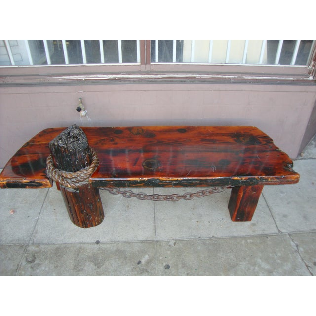 Wood Vintage Rustic Redwood Coffee Table. For Sale - Image 7 of 11