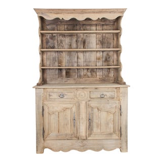 19th Century Bleached Oak China Cabinet For Sale