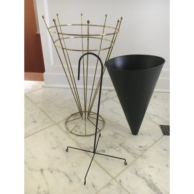 Vintage Metal Umbrella Stand For Sale - Image 4 of 4