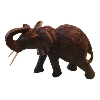 Carved Wood Elephant Figurine For Sale