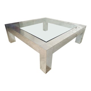 Square Chrome Glass Coffee Table in the Style of Paul Evans For Sale