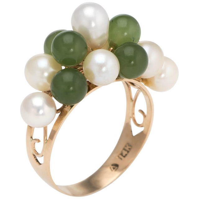 Gold Vintage Jade Cultured Pearl Ring 14 Karat Yellow Gold Estate Fine Jewelry For Sale - Image 8 of 8