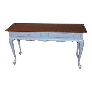 Queen Anne Solid Distressed Gray Cherry Console Table W/ 2 Drawers For Sale