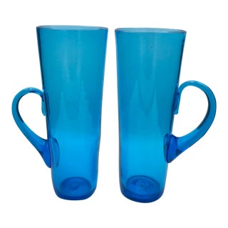 "1949 Blenko Turquoise Tall 9"" Highball Glasses / Vases - a Pair For Sale"