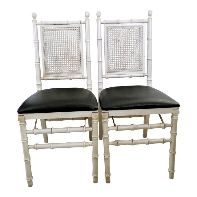 1960's Stackmore Faux Bamboo Cane Back Folding Chair- a Pair For Sale