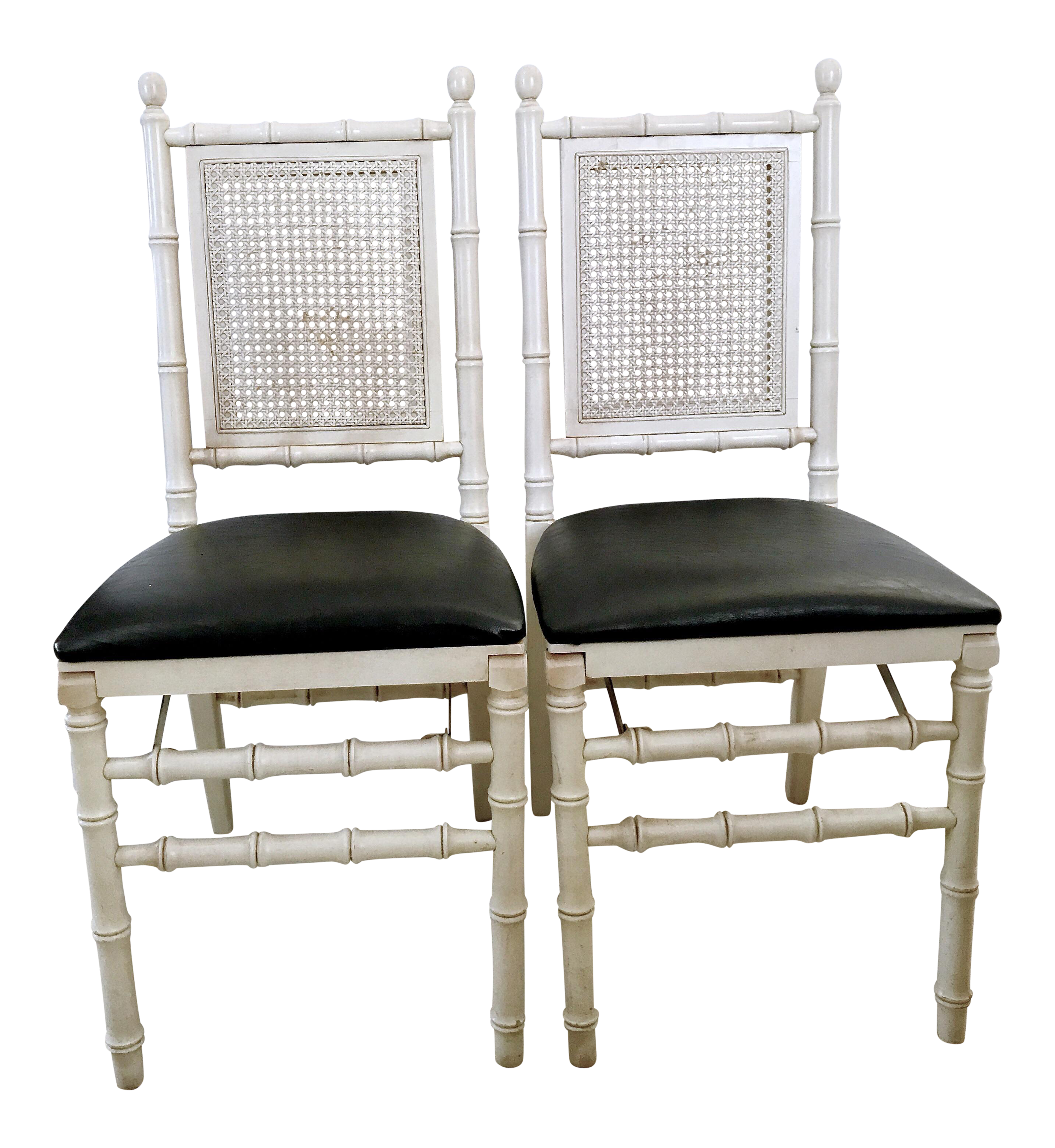 1960u0027s Stackmore Faux Bamboo Cane Back Folding Chair  A Pair