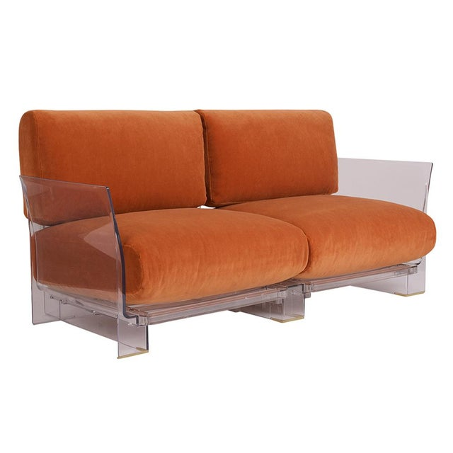 This pair of Lucite Love Seats/ Sofas are designed by Piero Lissoni for Kartell. Each sofa features a stylish lucite frame...