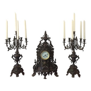 French Candelabras & Mantle Clock Garniture- 3 Pieces For Sale