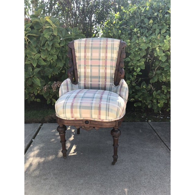 Antique Eastlake Plaid Upholstered Side Chair For Sale - Image 13 of 13