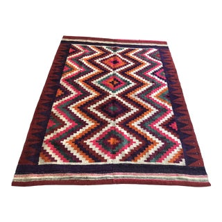 Large Colorful Dhurrie Rug, 1960s For Sale