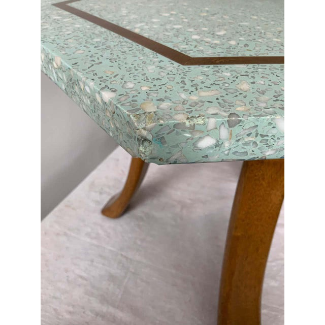 1950s Harvey Probber Blue Terrazzo Tripod Side Table For Sale In New York - Image 6 of 9