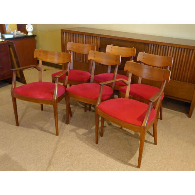 "Set of 6 Mid-Century Modern Drexel ""Declaration"" Line Walnut Dining Chairs 1950s For Sale - Image 12 of 12"