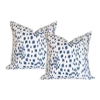 "Les Touches Blue Pillow Covers - a Pair 17""sq"