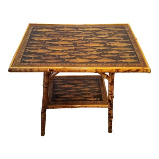 Antique Bamboo Table With Decoupage Fish For Sale