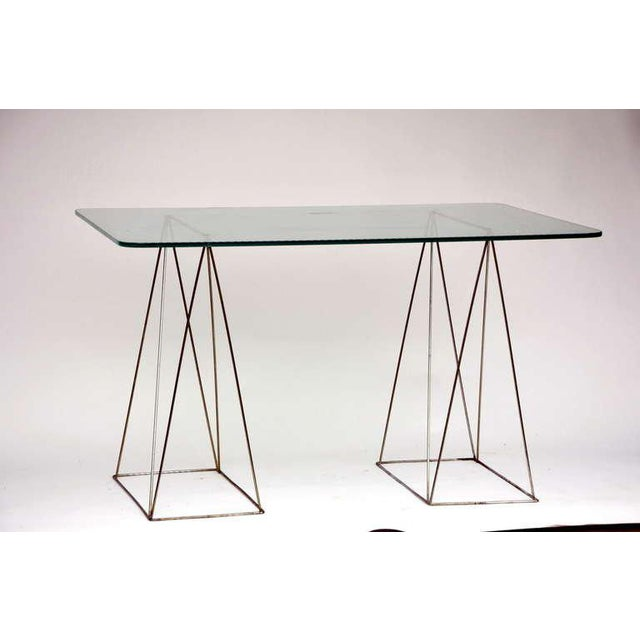 Transparent Minimalist Steel and Glass Trestle Table For Sale - Image 8 of 8