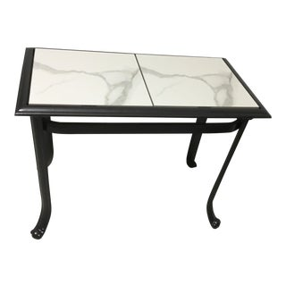 Gray Metal & White Carrera Marble Top Side Table