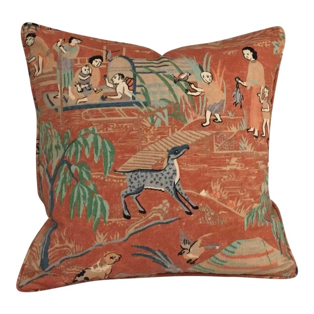 Thibaut Fishing Village Patterned Orange Pillow Cover For Sale