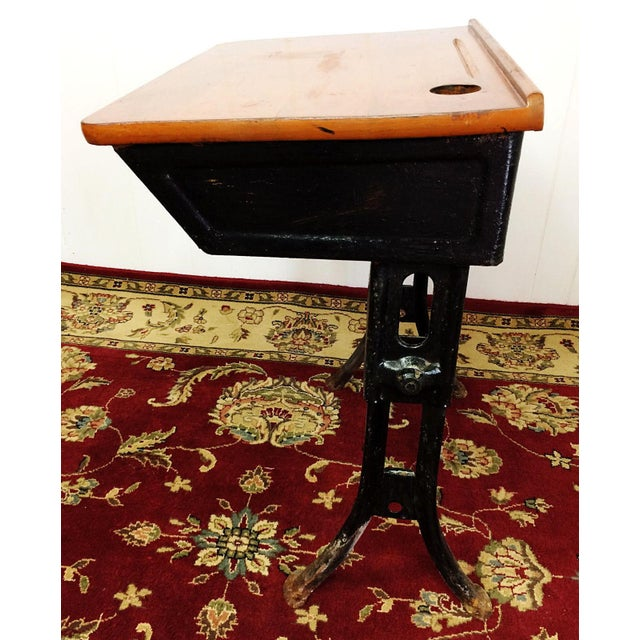 American Seating Company Antique American Seating Cast Iron Student School  Desk & Chair For Sale - - Antique American Seating Cast Iron Student School Desk & Chair