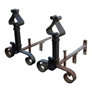 Banded Wrought Iron Andirons - A Pair