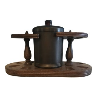 Mid-Century Wooden and Metal Humidor and Pipe Stand For Sale