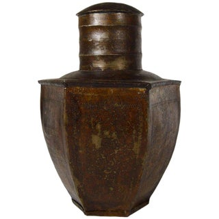 Vintage Indian Hand-Hammered Multi-Sided Tin Storage Canister from the 1930s For Sale