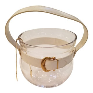 Mid-Century Mod Glass Ice Bucket With Gold Buckle and Ice Tongs- a Pair
