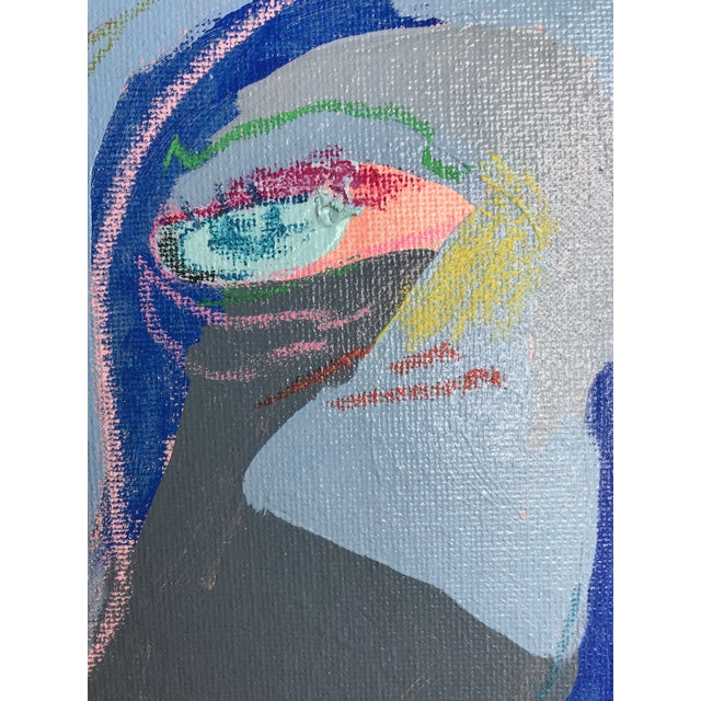"""Contemporary Abstract Portrait Painting """"Is He Ready to Go - No. 3"""" - Framed For Sale In Detroit - Image 6 of 12"""