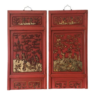 Antiques Hand Carved and Painted Chinese Wall Panels - Set of 2 For Sale
