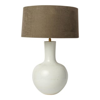 Custom White Glazed Table Lamp For Sale