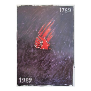 1989 Original Poster for Artis 89's Images Internationales Pour Les Droits De l'Homme Et Du Citoyen - Red Hand For Sale